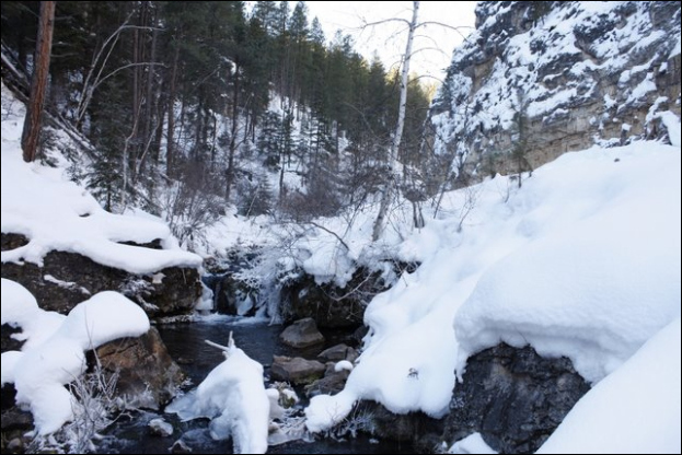 Iron Creek flows about 3 miles from Iron Creek Lake into Spearfish Creek.