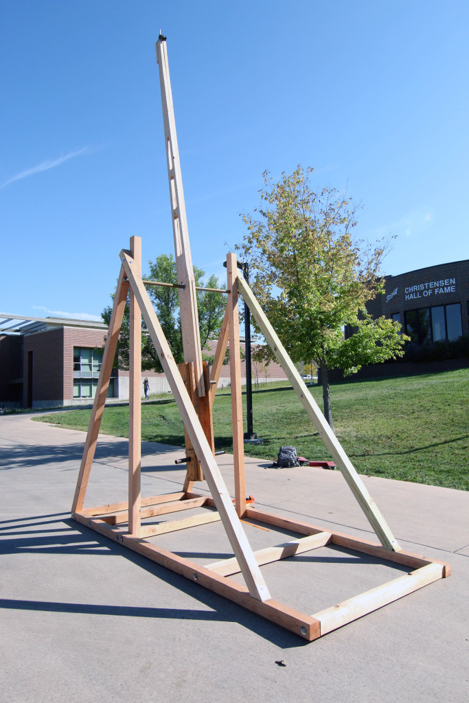 The trebuchet built by the SDSMT Formula CAMP team.