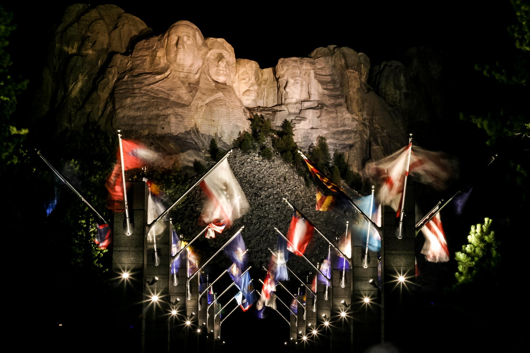 Evening Lighting Ceremony At Mount Rushmore Black Hills