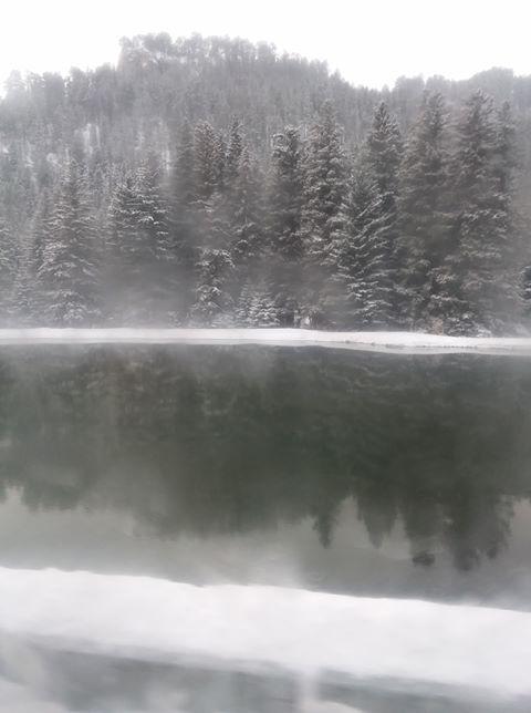 Snow Reflection On Pond