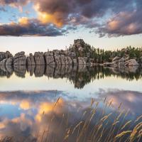 Sylvan Lake Reflection at Dusk