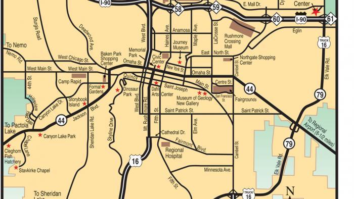 Maps Black Hills Badlands South Dakota - Sd maps