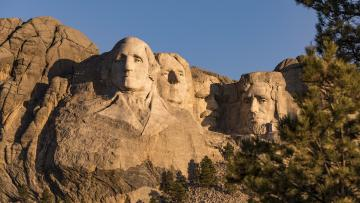 Last Evening Lighting Ceremony at Mount Rushmore National Memorial