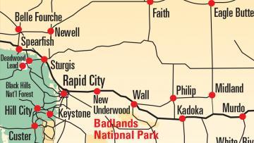 photo about South Dakota County Map Printable identify Maps Black Hills Badlands - South Dakota
