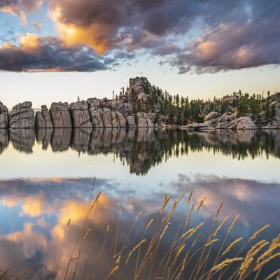 Sylvan Lake Reflection at Dusk