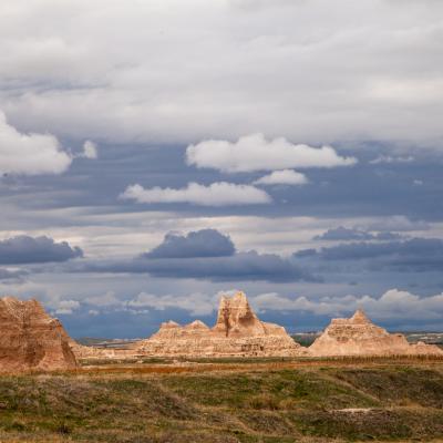 Badlands Landscape with Clouds