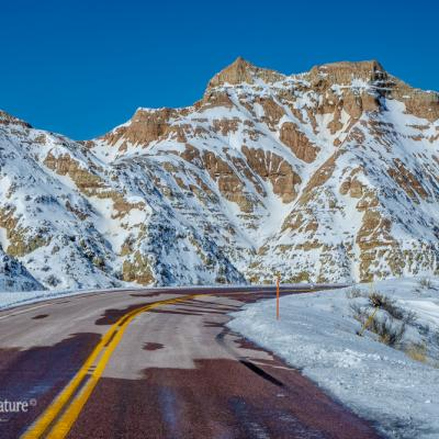 A Winter's Drive in the Badlands