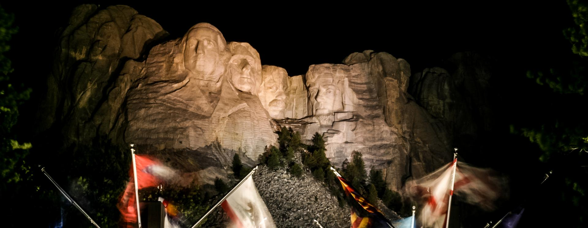 Evening Lighting Ceremony at Mount Rushmore