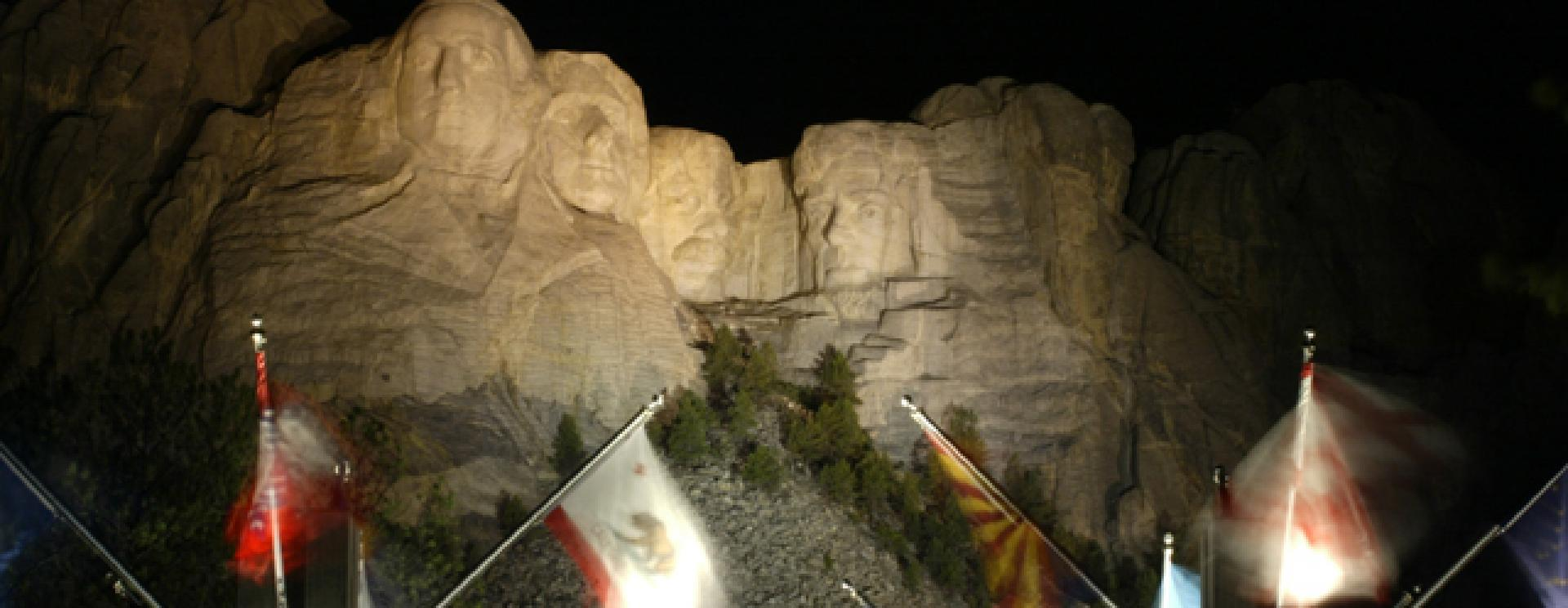 Evening Lighting Ceremony at Mount Rushmore National Memorial