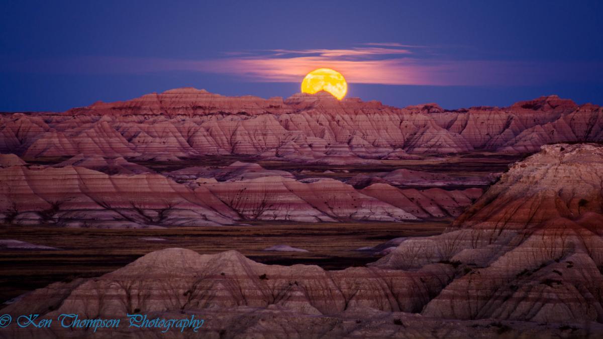 Hunter's Moon Over Badlands National Park