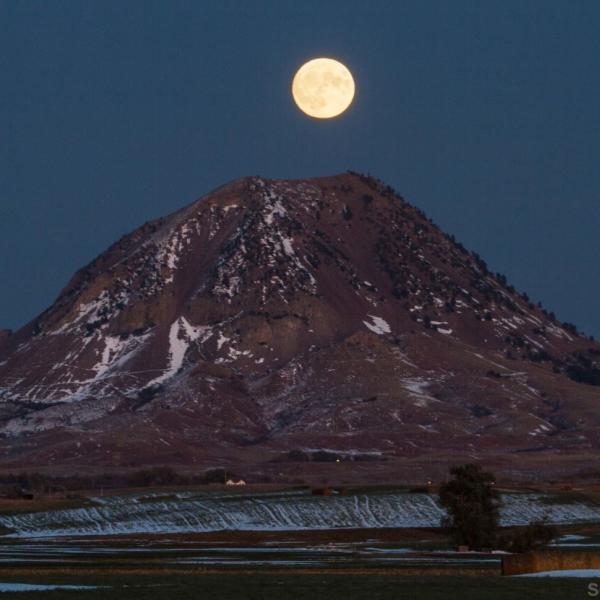 Moonrise over Bear Butte