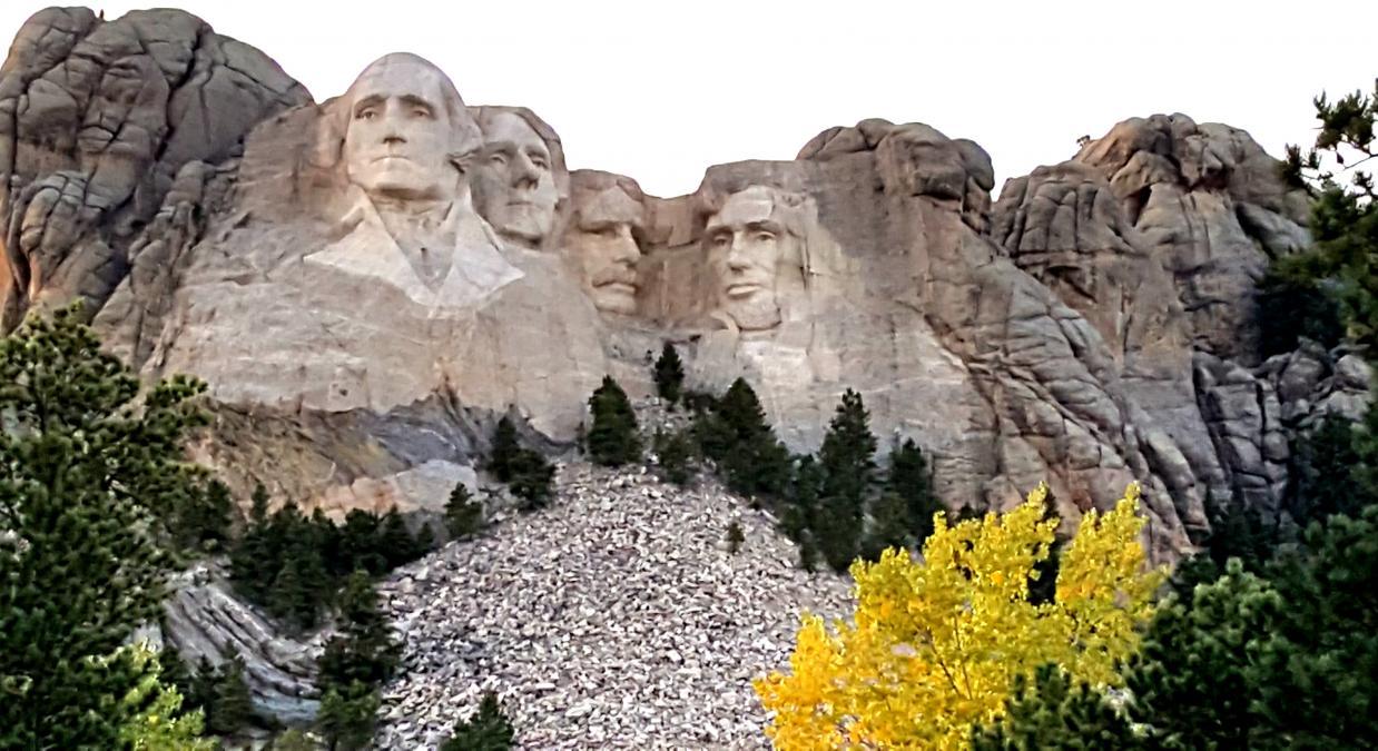 Mount Rushmore Rising over Golden Aspens