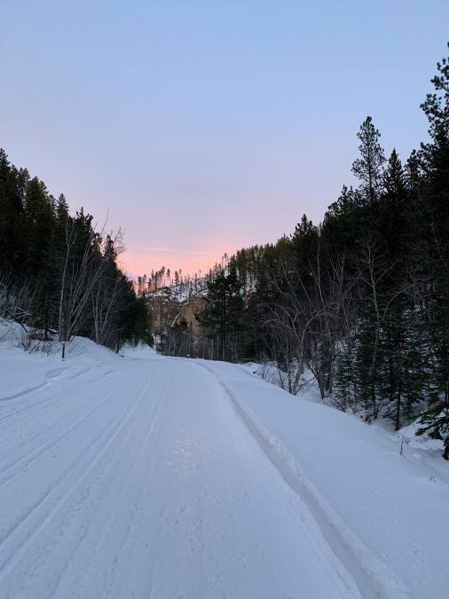 Sunset on snowmobile trail 4