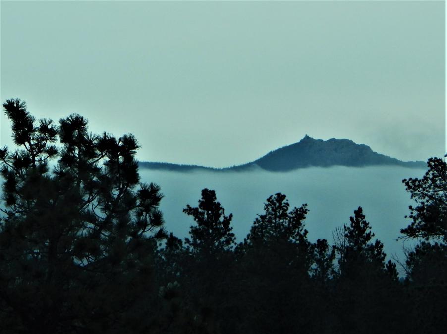 Black Elk Peak Through Fog.
