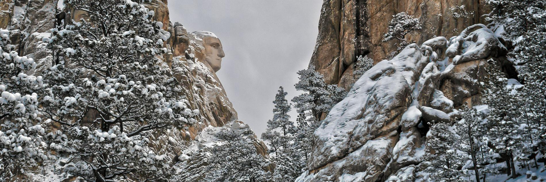Winter at Mount Rushmore