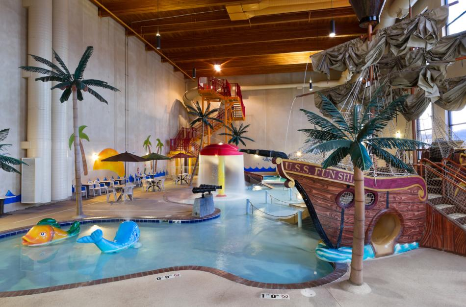 Kids Love Sliding Down Two 165 Ft Water Slides Shooting Cannons From The Deck Of A Pirate Ship Playing Beneath Mushroom Cascading
