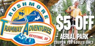 Coupon - Aerial Adventure Park at Rushmore Tramway Adventures