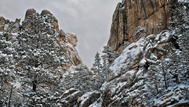 Winter at Mount Rushmore