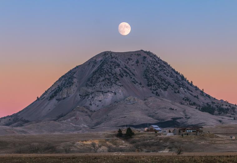 Moonrise Above Bear Butte