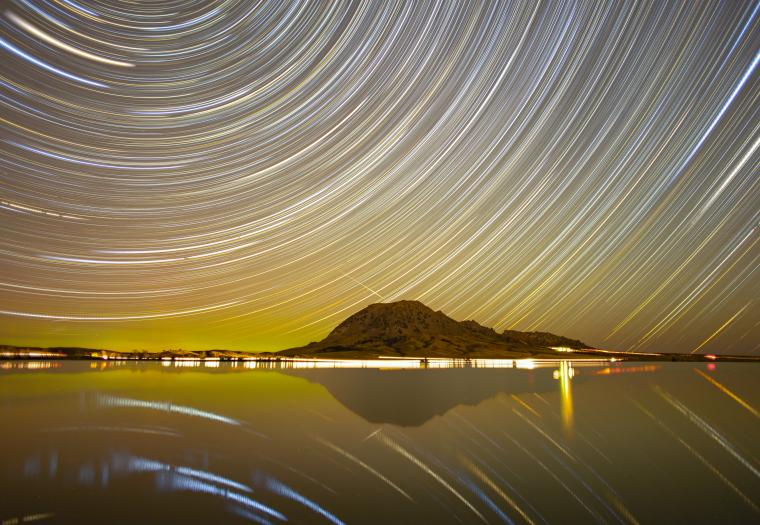 Star Trails Over Bear Butte