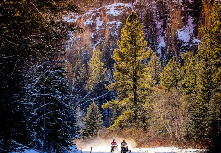 Snomobiling Through Spearfish Canyon