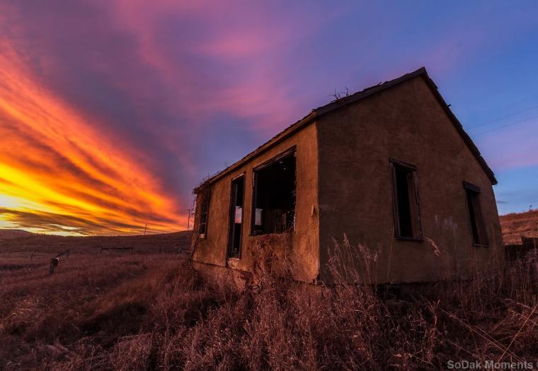 Sunset north of Sturgis